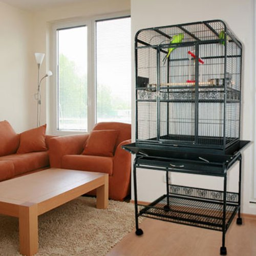 Palama Place Playtop Bird Cage with Stand - 27.5''W x 21.5''D x 70''H - Black Vein by BirdCages4Less
