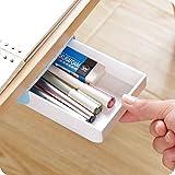 Chris.W 1Pack Self-Stick Pencil Tray - Under Desk Holder Pop-up Pen Storage Drawer Organizer(White and Blue)
