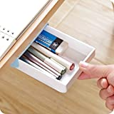 Chris.W 1Pack Self-Stick Pencil Tray - Under Desk Holder Pop-up Pen Storage Drawer Organizer(White and Blue)