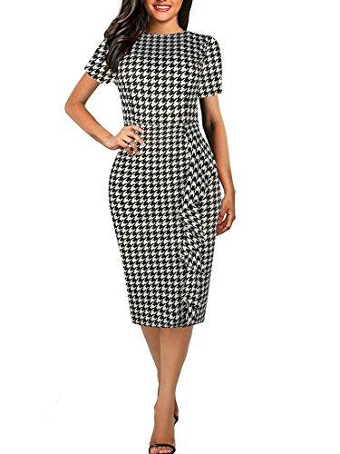 (CISMARK Women's Retro Short Sleeve Round Neck Career Pencil Dress Black Houndstooth L)