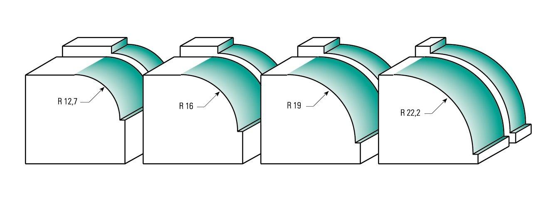 avec roulement R 6,35 mm B 12,7 mm 8 mm C ENT Fraise quart-de-rond Carbure Queue D 32 mm 25,4 mm Diam/ètre A