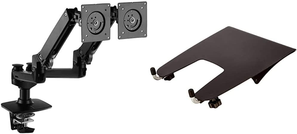 AmazonBasics Premium Dual Monitor Stand - Lift Engine Arm Mount, Aluminum - Black Bundle with AmazonBasics Notebook Laptop Stand Arm Mount Tray