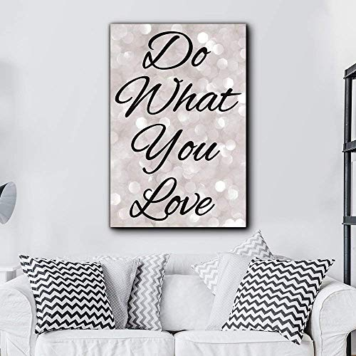 Bold Inspirational Quote Do What You Love Black Script on Champagne Bokeh Background Home and Dorm Room Decor