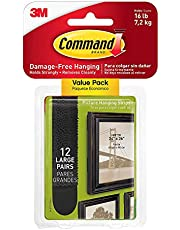 Command Large Picture Hanging Strips Value Pack, 12 Pairs, Black - 17206BLK-12