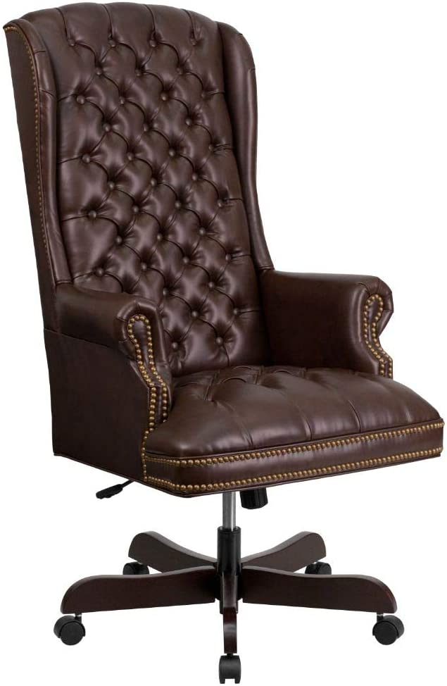 Flash Furniture High Back Traditional Fully Tufted Brown LeatherSoft Executive Swivel Ergonomic Office Chair with Arms