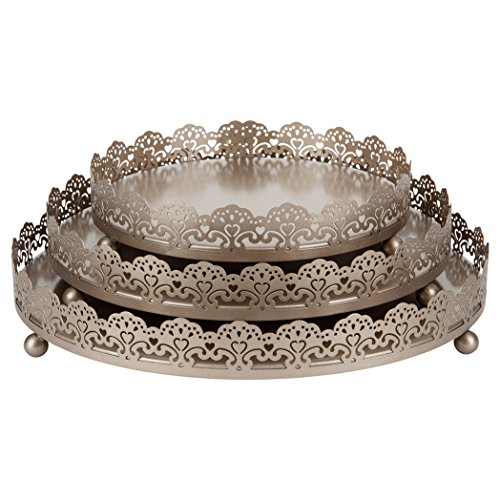 (Sophia 3-Piece Champange Decorative Tray Set, Round Metal Ornate Accent Vanity Food Display Serving Platter Holder Plates)