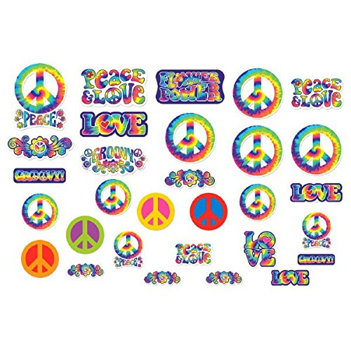 Amscan Feeling Groovy 60's Theme Party Psychedelic Cutout Assortment Decoration, Multi Color, 14.3 x (Decade Theme)