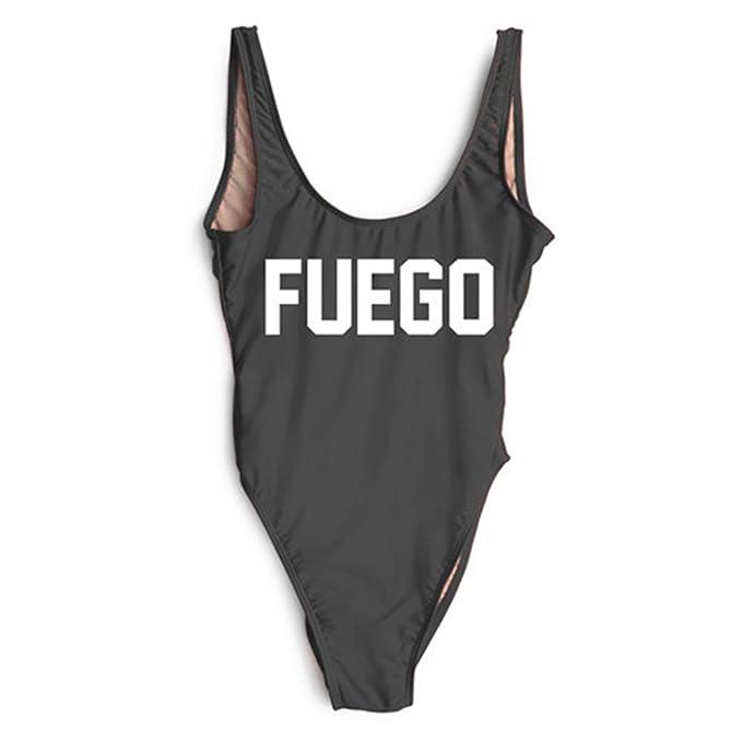 Amazon.com: Fuego traje de baño de una pieza/Body negro ...