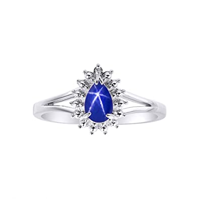 6a1254bc29d9b5 Image Unavailable. Image not available for. Color: Diamond & Blue Star  Sapphire Ring ...