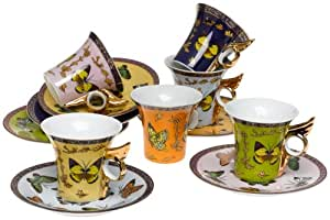 Yedi Houseware Classic Coffee and Tea Butterfly Teacups and Saucers, Set of 6