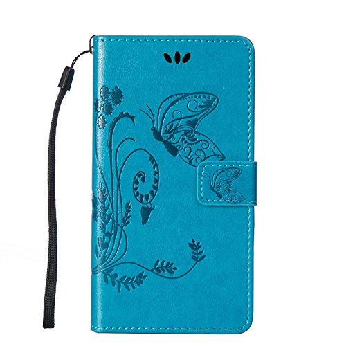 SRY-Funda móvil Samsung Funda Galaxy Note 5 de Samsung Galaxy, Estuche retro de folio con caja de folletos y correa para la mano Funda protectora de Shell para Samsung Galaxy NOTA 5 ( Color : Purple , Blue