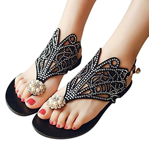 Caopixx Roman Shoes, Vintage Women Rhinestone Flat Heel Anti Skidding Beach Shoes Platform Sandals Slipper (Asia Size 36, Black)