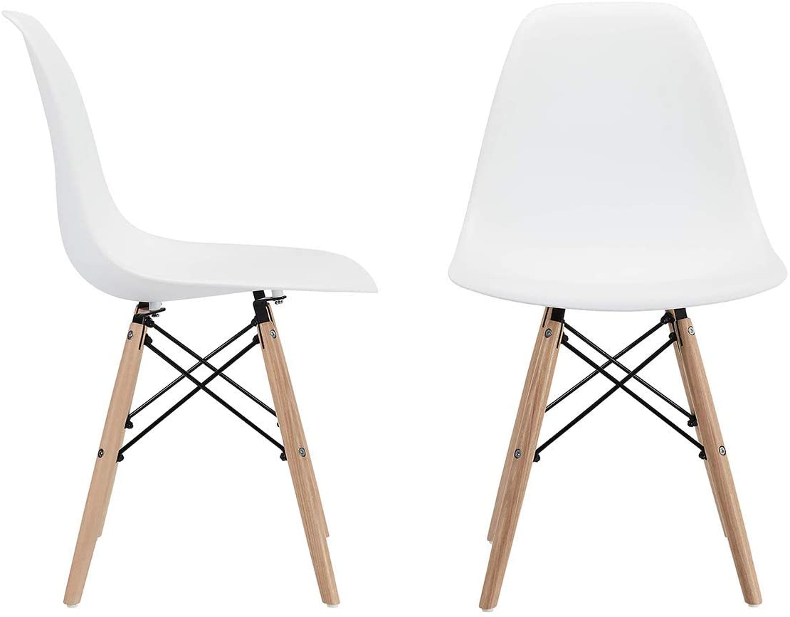 CangLong Modern Mid-Century Shell Lounge Plastic DSW Natural Wooden Legs for Kitchen, Dining, Bedroom, Living Room Side Chairs, Set of 2, Grey - Chairs