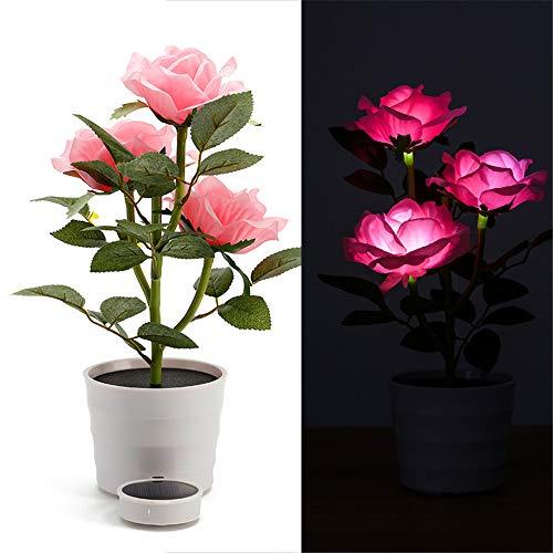 Solar Rose Bonsai Light, Elevin(TM) Solar Rose Flower Lights LED Artificial Rose Pot Flower Bonsai LED Lamp (Pink) ()
