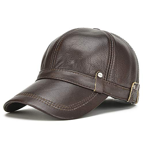 YUXUJ Leather Hat Men's Suede Leather Baseball Cap Men Outdoor Casual Leather Cap Male Cap Autumn and Winter (Color : Brown, Size : 56-60CM)