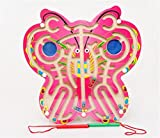 FunnyTown Wooden Beads Maze on Butterfly Shaped Board with 2 Magnetic Wands