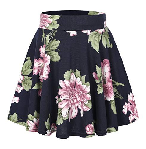 Urban CoCo Women's Floral Print Flared Mini Skater Skirt (L, 2) ()