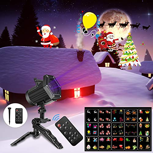 Outdoor Halloween Decoration Projects (Comkes Christmas Projector Lights, 15 Patterns LED Projector Lights Waterproof Dynamic Outdoor Christmas Lights Spotlights Decoration for Christmas, Halloween,New Year,Outdoor/Indoor)