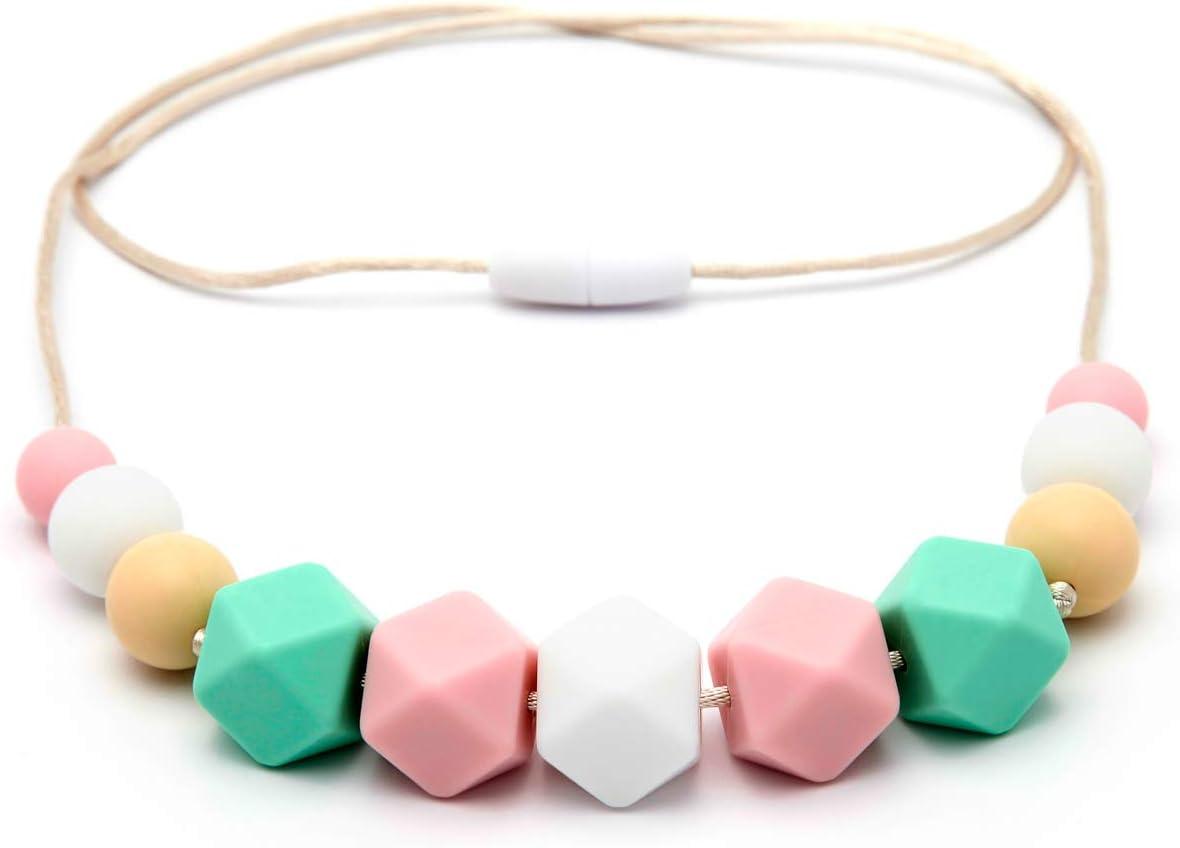Collar de Lactancia Mordedor de Silicona Antibacteriana Para Dentici/ón PINK MINT