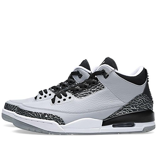 Nike Air Jordan 3 Retro Männer Hallo Top Basketball Trainer 136064 Turnschuhe Schuhe Wolf Grey, Mtlc Slvr-blck-wt