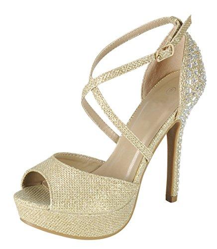 Cambridge Select Women's Peep Toe Crisscross Ankle Strappy Rhinestone Crystal Beaded Platform Stiletto Heel Dress Sandal (8.5 B(M) US, Champagne)