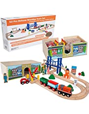 Orbrium 52 Pcs Deluxe Wooden Train Set with Dual-use Storage Box/Tunnel Fits Thomas The Tank Engine, Brio, Chuggington Wooden Train