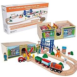 Orbrium Toys 52 Pcs Deluxe Wooden Train ...