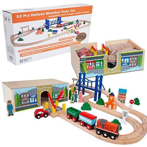 Orbrium Toys 52 Pcs Deluxe Wooden Train Set with 3 Destinations Fits Thomas, Brio, Chuggington, Melissa and Doug, Imaginarium Wooden Train ()