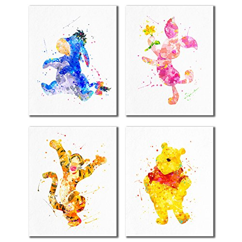 (Winnie The Pooh Watercolor Prints - Nursery Wall Art Decor Prints - Set of 4 (8 inches x 10 inches) Photos Tigger Eeyore Piglet )
