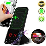Wireless Charger Stand,[Digital Alarm Clock][10W Qi Wireless Charging Dock Station] Wireless Charger Phone Holder for iPhone Xs Max/Xs/XR,8 Plus/8 Samsung Galaxy S10 Plus/S10e/S10,S9/S9 plus/S8/S7