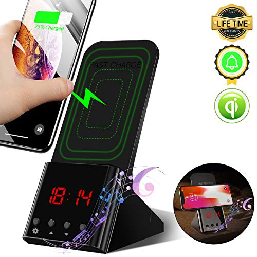 Wireless Charger Stand,[Digital Alarm Clock][10W Qi Wireless Charging Dock Station] Wireless Charger Phone Holder for iPhone Xs Max/Xs/XR,8 Plus/8,Samsung Galaxy S10 Plus/S10e/S10,S9/S9 plus/S8/S7 Alarm Clock Stand By