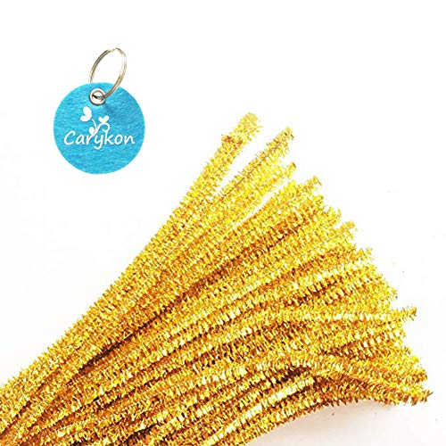 Carykon 100 PCS 12 Inch Glitter Tinsel Creative Arts Chenille Stems Pipe Cleaners (Gold)