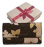 Michael Kors Jet Set Travel Large Trifold Wallet Saffiano Leather (Signature MK Brown Floral)