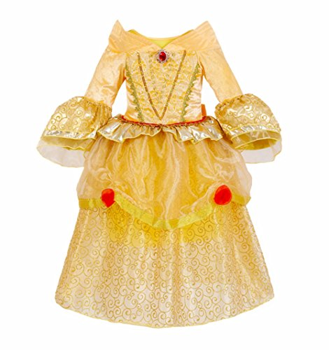 MISG Girls' Belle Princess Dress Costume Deluxe Golden Party Dress 3-8 Years.