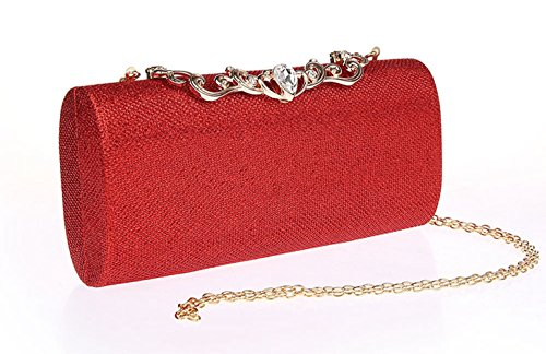 Bags Elegant Party Rhinestone Red Women's Oblong HeySun Evening Purse Shoulder Bag Clutch Cocktail wqBIfvE