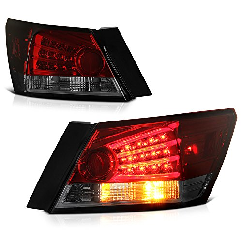 VIPMOTOZ Smoke Red Lens Fiber Optic Tube LED Tail Light Housing Lamp For 2008-2012 Honda Accord Sedan Driver + Passenger Side Replacement Pair - Honda Accord 4dr Euro Tail