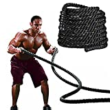 Yaheetech 2'' Polyester 40ft Battle Rope Workout Cardio & Core Strength Training Fitness Undulation Rope Exercise Home&Gym,Black
