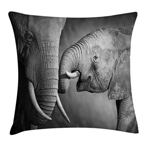 Ambesonne Modern Decor Throw Pillow Cushion Cover by, Elephants Showing Affection Artistic Wildlife African Spiritual Animals Safari Art, Decorative Square Accent Pillow Case, 16 X 16 Inches, Grey