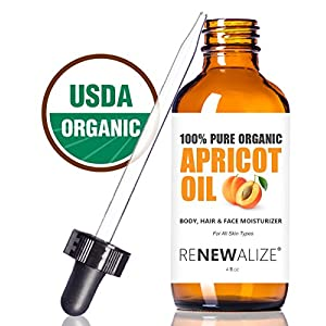 Organic Apricot Kernel Oil by Renewalize in LARGE 4 OZ. DARK GLASS BOTTLE with Glass Eye Dropper | Highest Quality 100% Pure, USDA Certified Organic, Virgin (Unrefined) Cold Pressed Oil - Hexane Free Extracted | A Fantastic Light Massage Oil | Softens Dry Skin | An Excellent Carrier Oil for Mixture with Essential Oils | Guaranteed Improvement