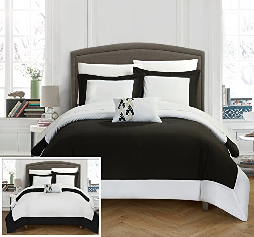 Two Tone Border - Chic Home 8 Piece Wynn MODERN TWO TONE REVERSIBLE HOTEL COLLECTION, with embellished borders and embroidery decor pillow King Bed In a Bag Duvet Set Black With White Sheets included