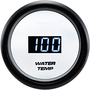 White Face with Stainless Rim 52mm Blue LED Backlight Water Temp Gauge