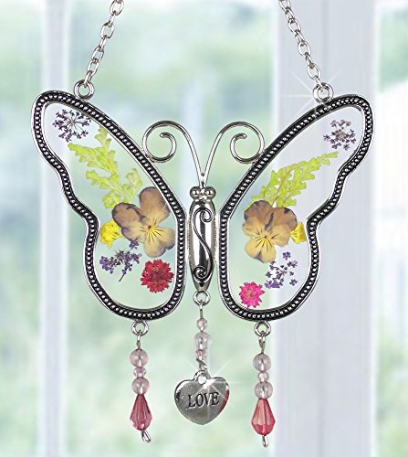 Butterfly Metal Flowers (Love Butterfly Suncatcher with Real Pressed Flower Wings in Glass and Silver Metal Heart Shaped Engraved Charm - Gift for a Loved One Wife Girlfriend Fiance Valentine's Day)