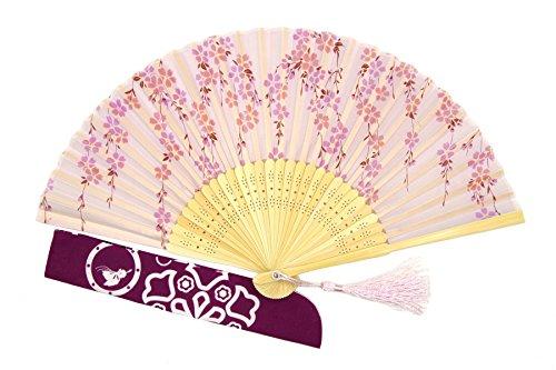 DawningView Japanese Folding Fan, Cherry Blossoms Cascade HF94 (fabric case and tassel ()