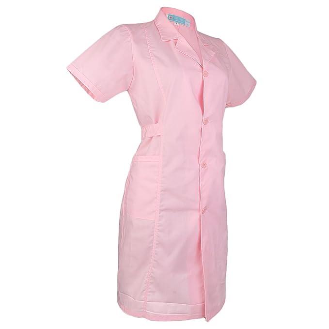MagiDeal Mujer Scrubs Bata de Laboratorio Médico Enfermera Doctor Uniforme Cuello de Solapa Manga Corta: Amazon.es: Ropa y accesorios