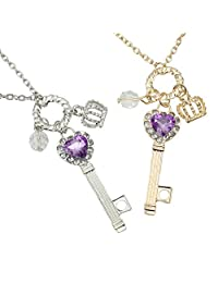 2 Pcs Gold and Silver Acrylic Love Heart Key Long Chain Pendant Necklace New