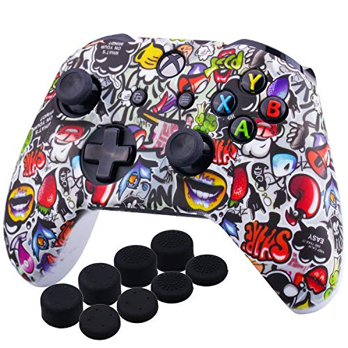 YoRHa Printing Rubber Silicone Cover Skin Case for Xbox One S/X Controller x 1(Lovely Graffiti) With PRO Thumb Grips x 8
