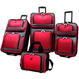 US Traveler New Yorker 4 Piece Luggage Set Expandable,Red