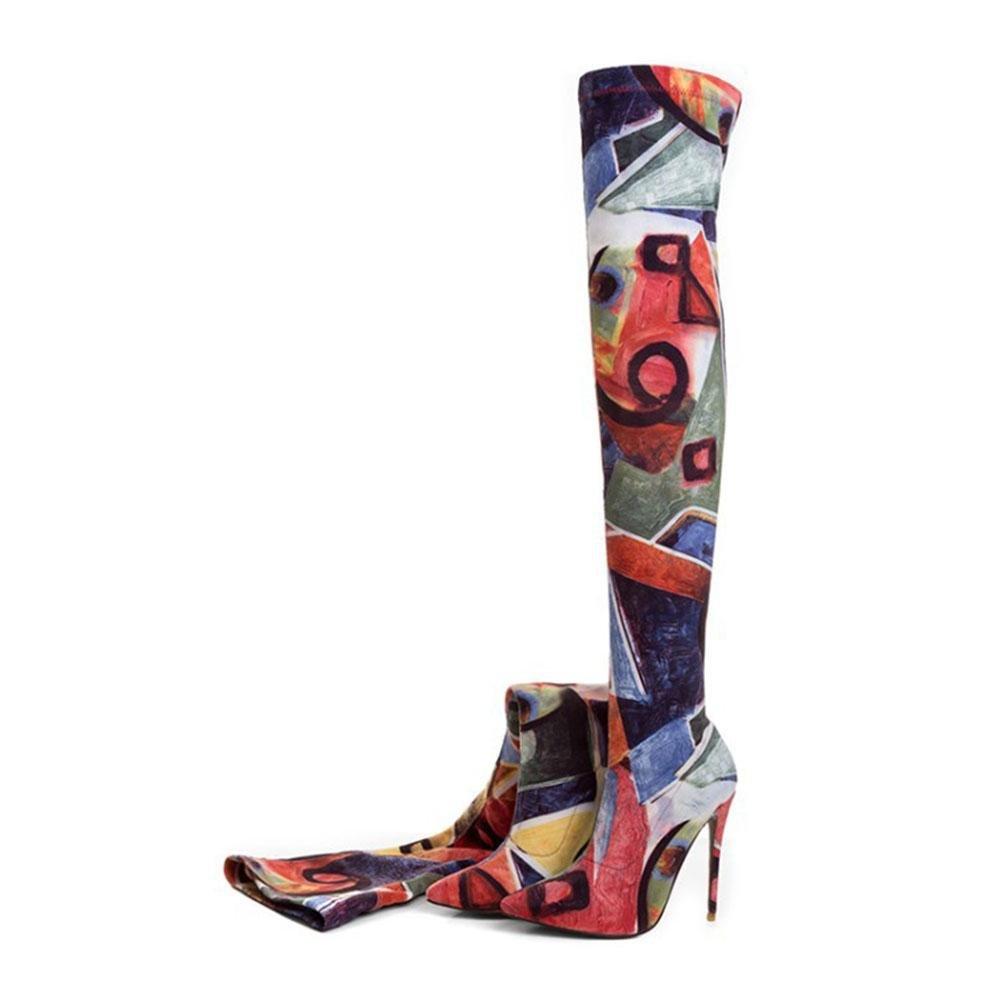 CYMIU Damen Feine Hochhackige Stiefel Stiletto Stiletto Stiletto Herbst Und Winter Stiefel Über Das Knie Elastizität Farbe Atmungsaktiv Verschleißfest Größe 9d793a