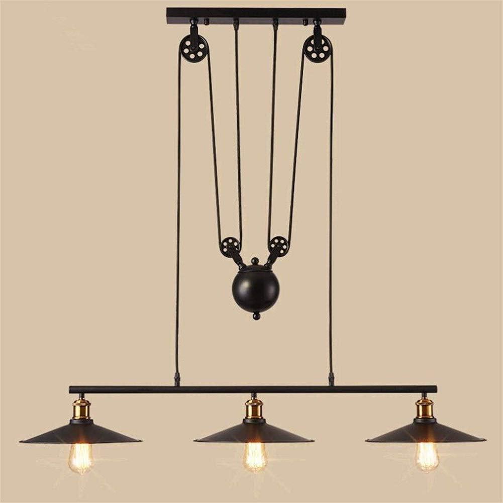 GaLon El Elevador de polea de lámpara de Estilo Retro Industrial Puede ajustarse en Altura, araña de Hierro Forjado de 3 Luces Negra, Puede usarse en un Restaurante Bar Café [Clase de energía A ++]