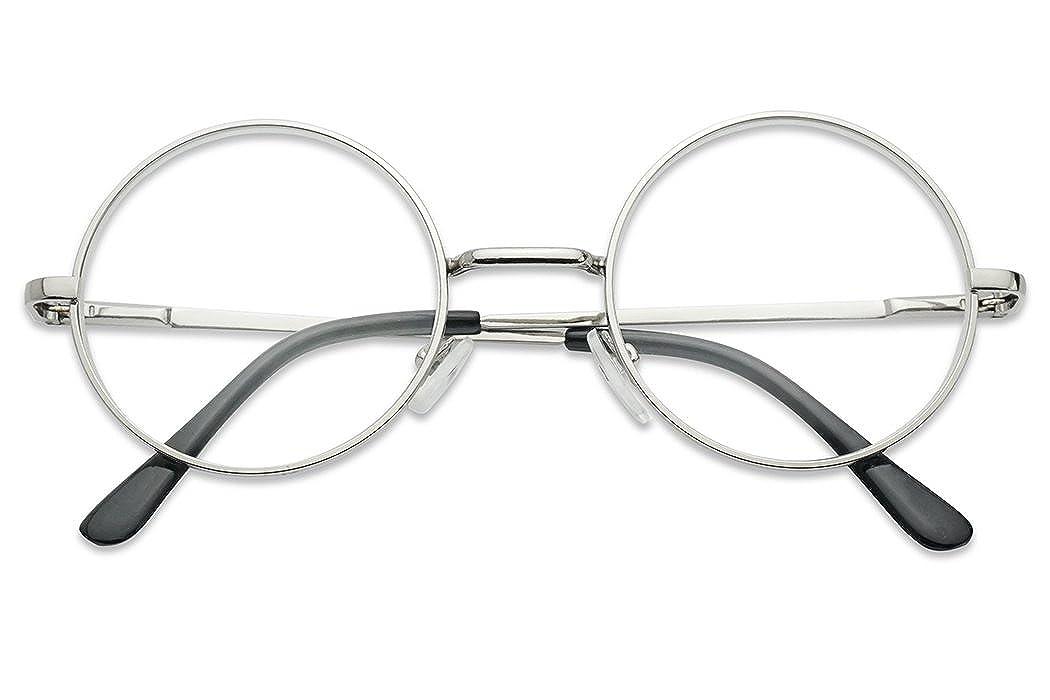 ラウンド50 mmクリアレンズメタルワイヤフレーム非処方箋ファッション眼鏡uv400 B078HG2P3B  シルバー
